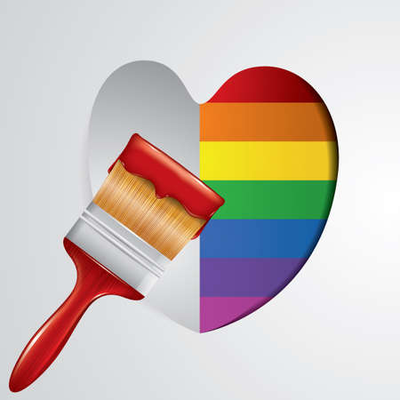 bristles: Paintbrush with rainbow colored heart Illustration