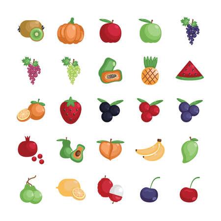 green apple slice: Set of fruit and vegetable icons Illustration