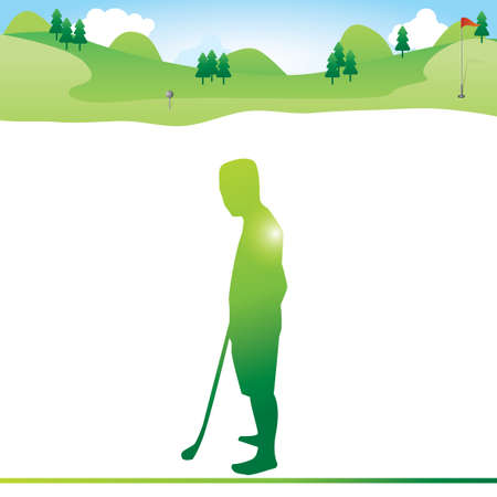 guy standing: Golfer standing on the field