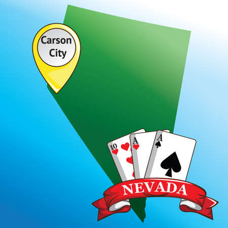 carson city: Map of nevada state with poker cards Illustration