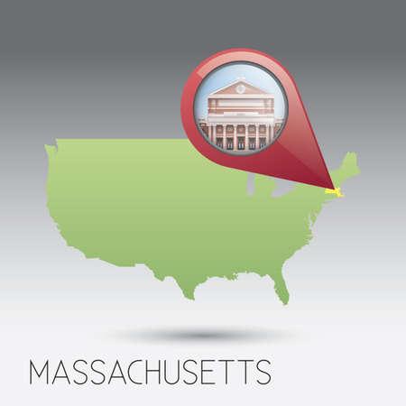 massachusetts: USA map with massachusetts state