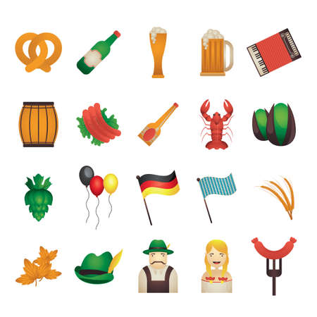 bavarian girl: Set of oktoberfest icons
