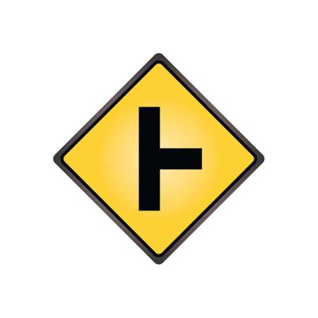Side road at a perpendicular angle sign Illustration