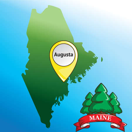 maine: Map of maine state with pine tree