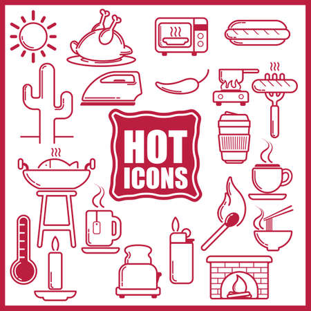 fireplace lighter: Collection of hot food and equipment icons