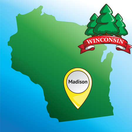 pin arbre: Map of winconsin state with pine tree