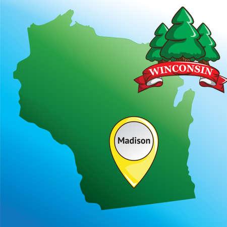 albero pino: Mappa di Stato Winconsin con pino