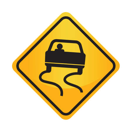 motorists: Slippery when wet sign Illustration