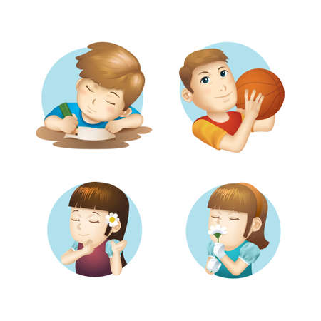 smelling: Collection of assorted icons Illustration