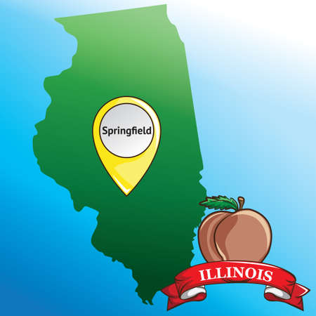 gold rush: Map of illinois state with gold rush apple