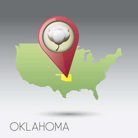 oklahoma: USA map with oklahoma state Illustration