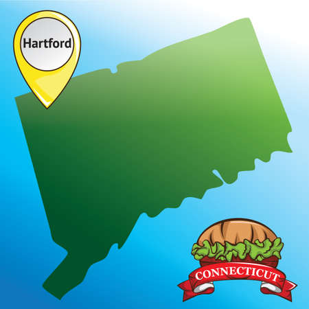 connecticut: Map of connecticut state with burger Illustration
