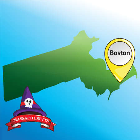 witch hat: Map of massachusetts state with witch hat