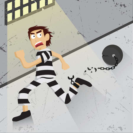 prison break: Thief breaking chain and escaping Illustration