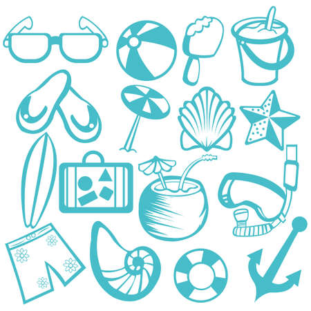 Collection of beach icons