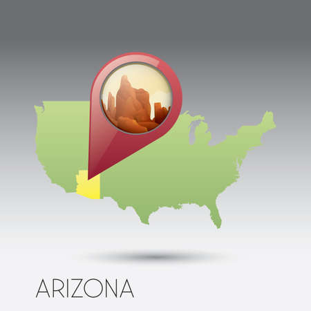 grand canyon: USA map with arizona state Illustration