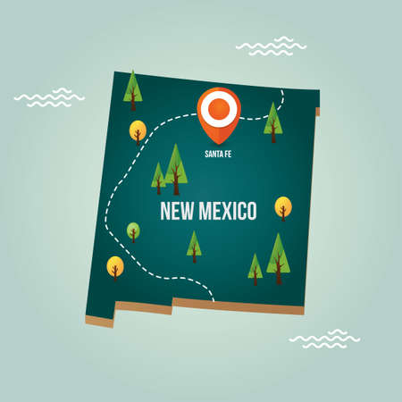 new mexico: New mexico map with capital city Illustration