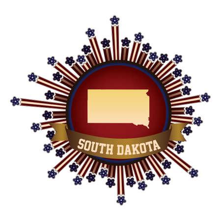 south dakota: South dakota state button with banner Illustration