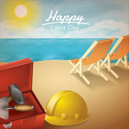 해피 노동절 포스터