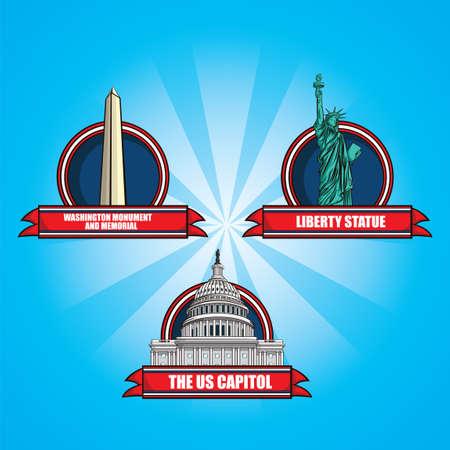 washington monument: Set of america landmarks