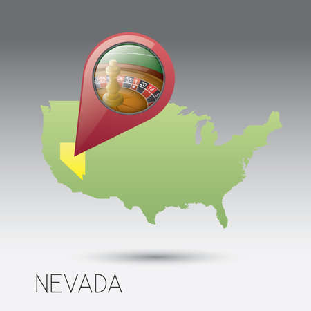 nevada: USA map with nevada state Illustration