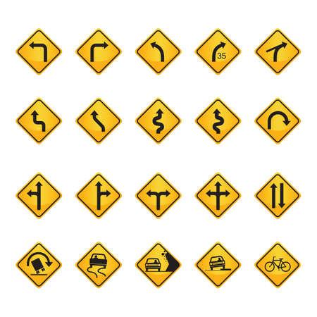 Set of road sign icons Illustration