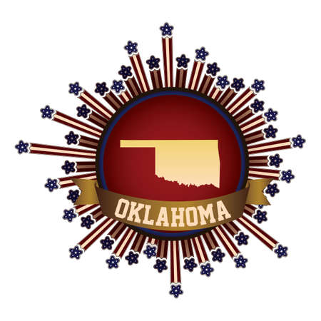 oklahoma: Oklahoma state button with banner