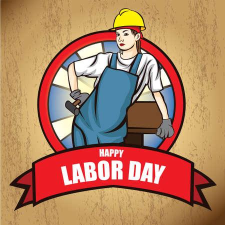 幸せな労働者の日ポスター