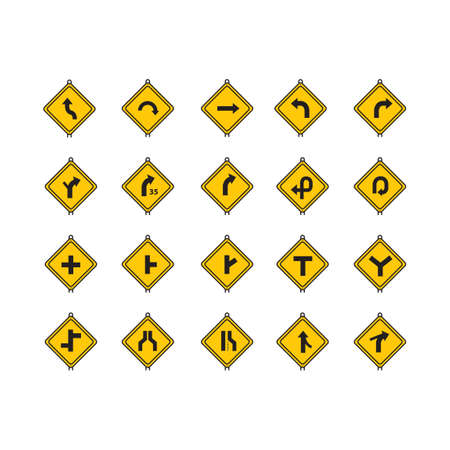 offset angle: Set of road sign icons Illustration