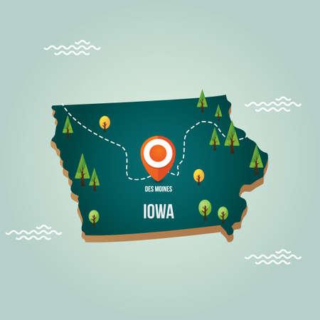 iowa: Iowa map with capital city