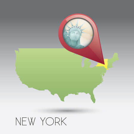 new york state: USA map with new york state