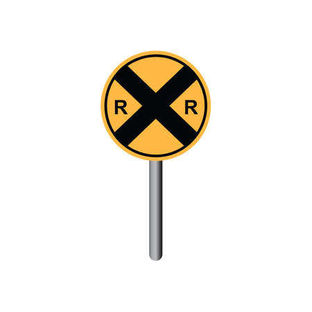 slow down: Railroad sign Illustration