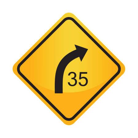advisory: Right curve with advisory speed sign