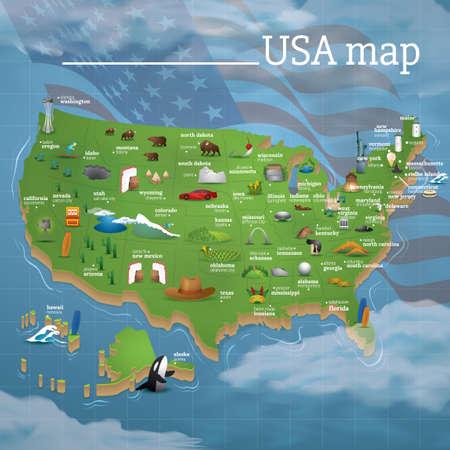 USA map famous symbols