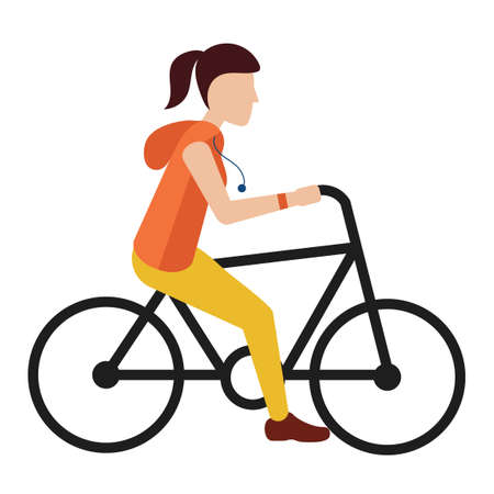 woman side view: Woman riding bicycle Illustration