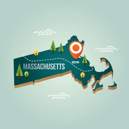 Massachusetts map with capital city