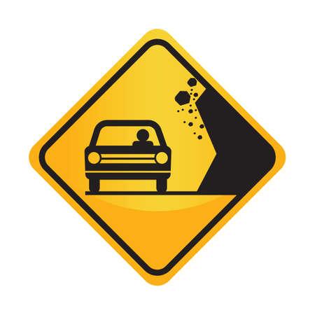 the motorists: Falling rocks sign Illustration