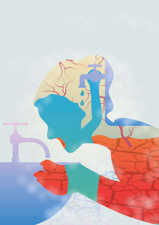 wastage: Save water concept Illustration