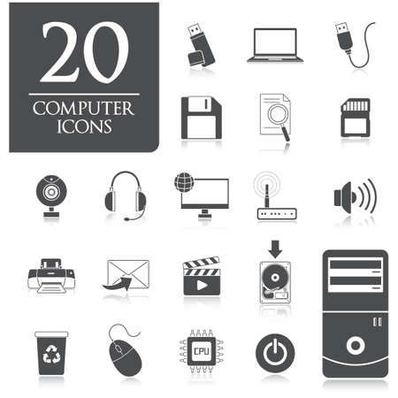 Collection of computer icons Illustration