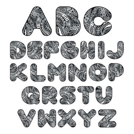 c a w: Alphabet set in decorative style