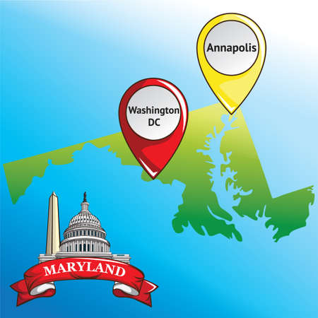 dc: Map of maryland state with washington dc