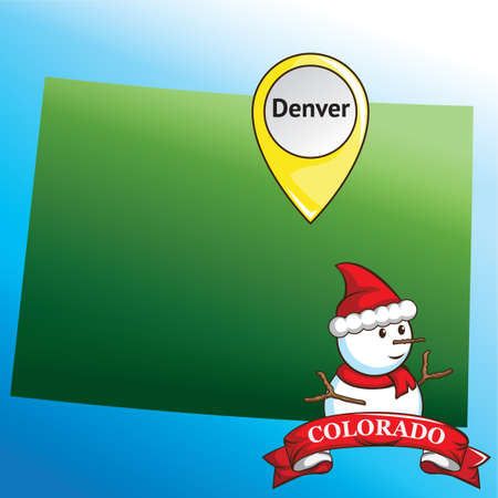 state of colorado: Map of colorado state with snowman Illustration