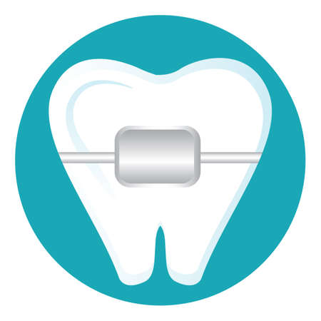 Tooth with braces Illustration