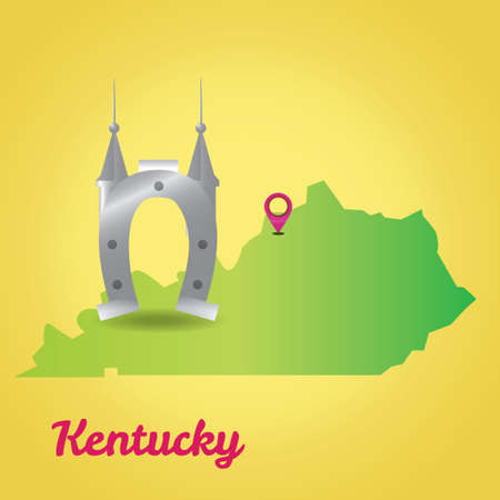 kentucky: Map of kentucky state Illustration