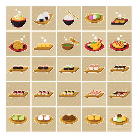 prawn: Collection of japanese food Illustration