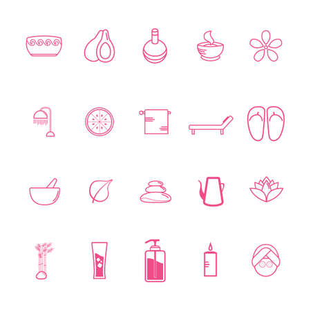 scented candle: Collection of spa icons Illustration