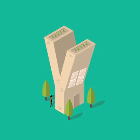 plant stand: Isometric building with alphabet Y