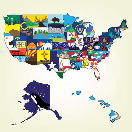 USA kaart met beroemde bezienswaardigheid