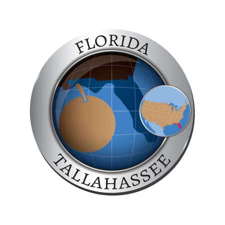 florida state: Florida state with orange badge