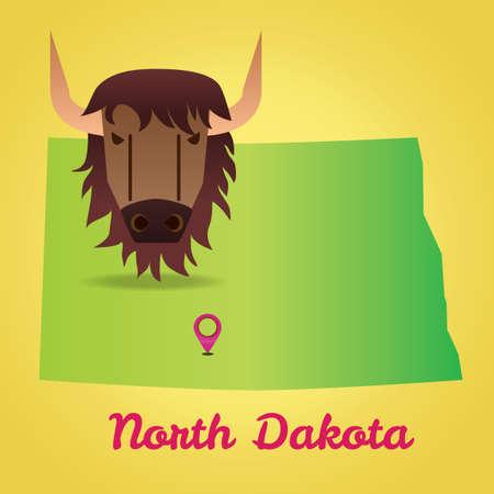 dakota: Map of north dakota state